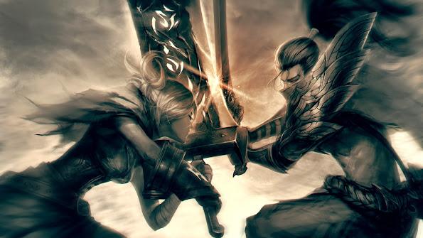 riven vs yasuo clash fighting league of legends hd wallpaper lol champion 1920x1080 83