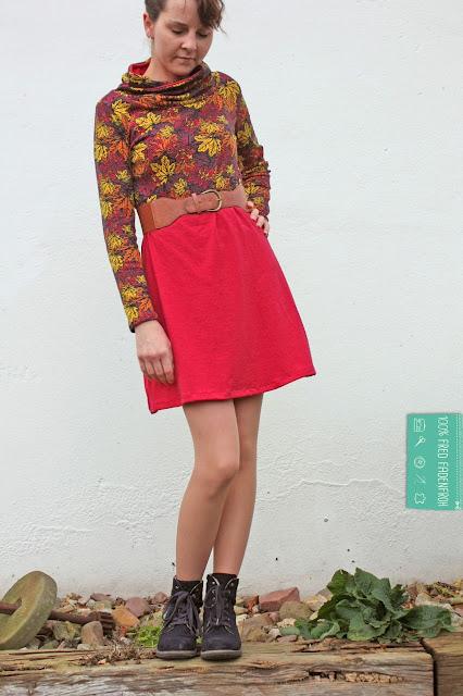 Kleid; nähen; Kragenshirt; Liebelein; fred fadenfroh; print4kids; Astrokatze; Blätterrausch; Interlock; Blätter
