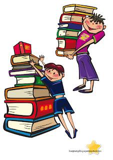 dibujos de niños con muchos libros