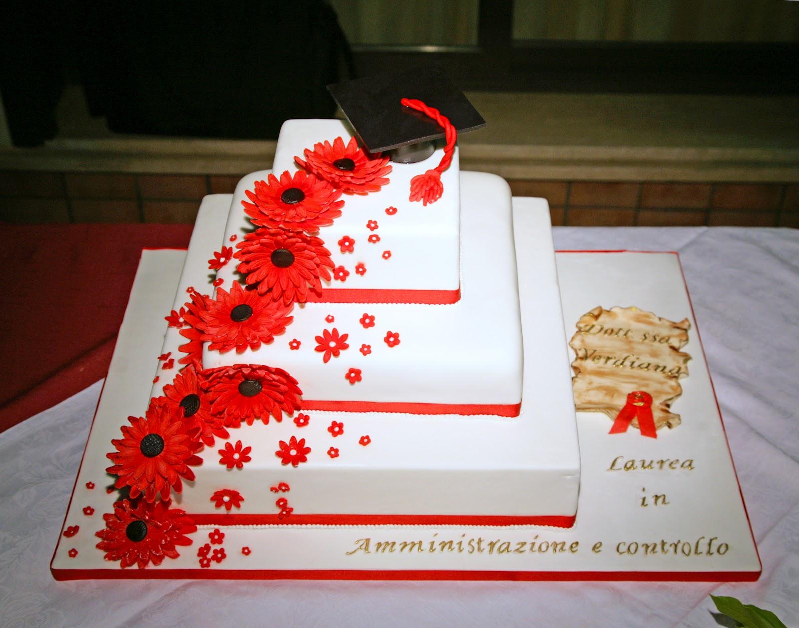 Dolce candy torta di laurea con gerbere rosse for Laurea in design