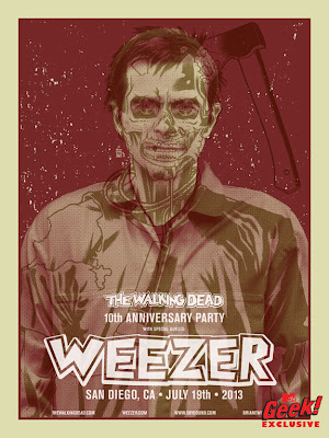 "San Diego Comic-Con 2013 Exclusive The Walking Dead 10th Anniversary Party ""Weezer Becomes The Walking Dead"" Screen Print Series by Brian Ewing - Rivers Cuomo as a Walker"