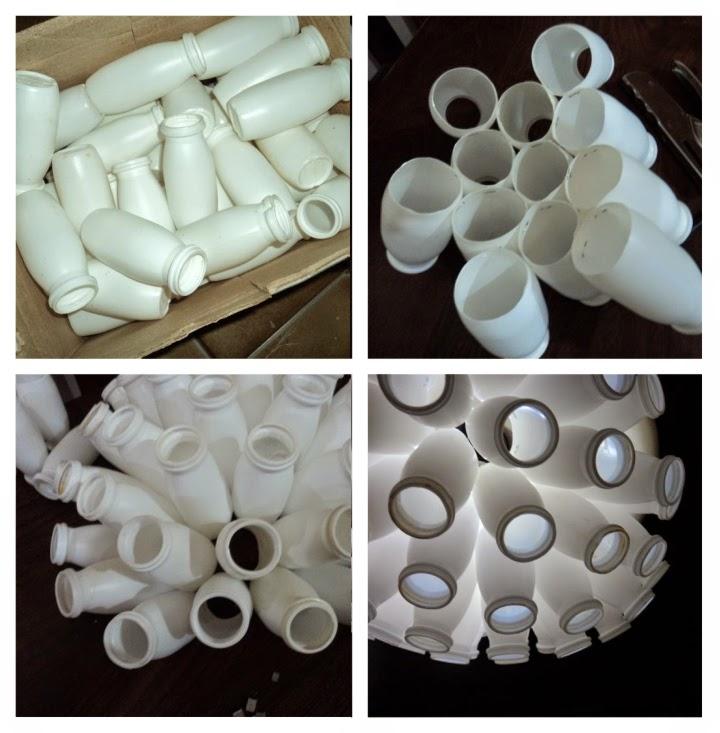 Actimel, botellas, reciclado, lámpara, luminaria