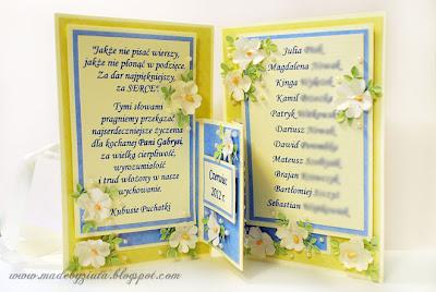 kartki okolicznościowe, kartka harmonijkowa, podziękowania dla nauczycieli, podziękowania dla przedszkolanek, barbara wójcik