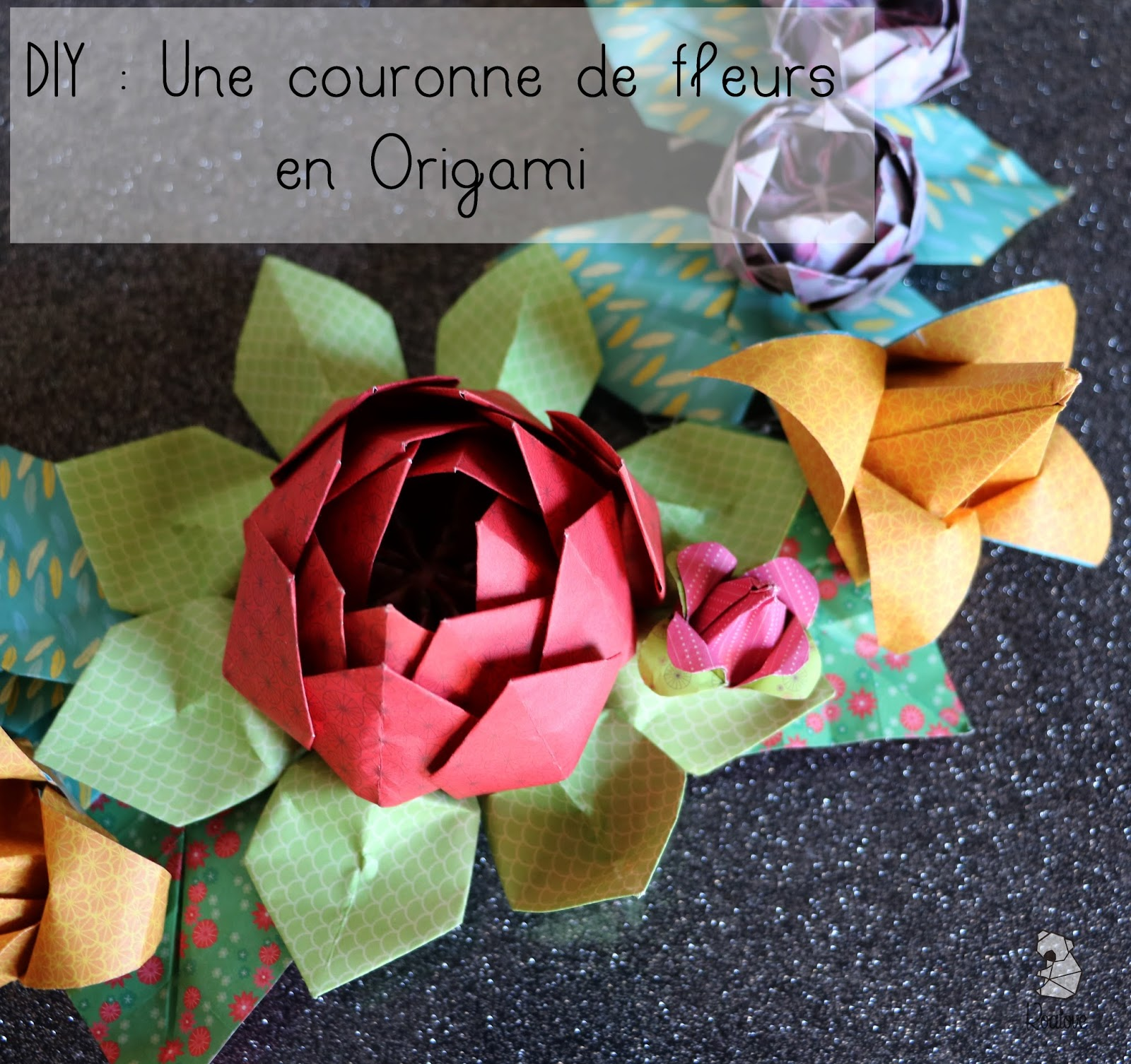 koalove diy une couronne de fleurs en origami. Black Bedroom Furniture Sets. Home Design Ideas
