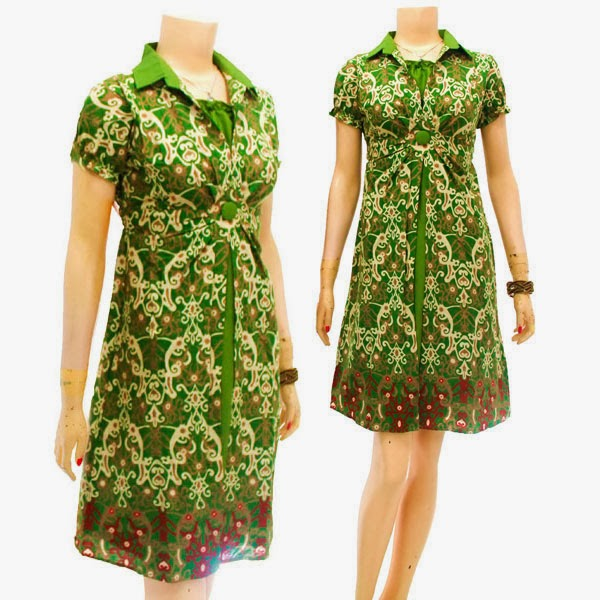DB3738 Mode Baju Dress Batik Modern Terbaru 2014
