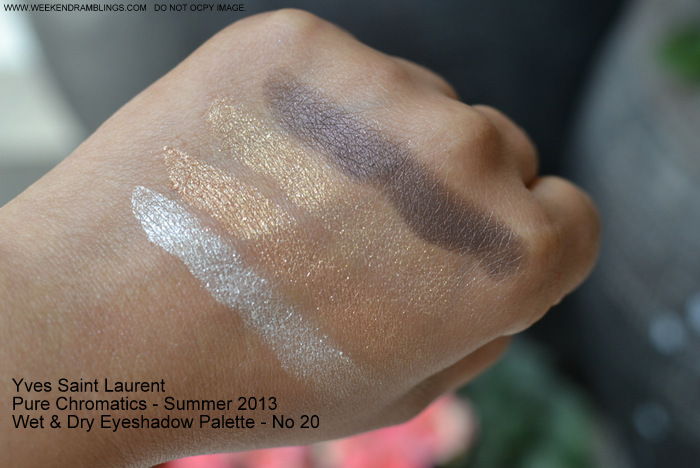 Yves Saint Laurent Pure Chromatics Summer 2013 Makeup Collection Wet Dry Eyeshadow Palette Quad - No. 20 - Swatches