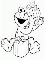 gambar mewarnai Elmo mendapat hadiah natal
