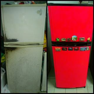DIY - Repaint Old Refrigerator - before and after