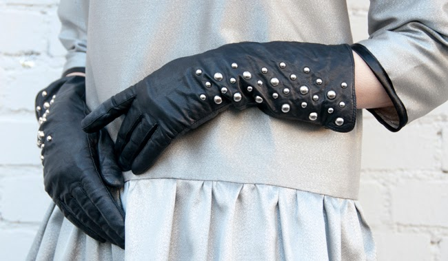silver, metallic dress, studded gloves, black leather gloves