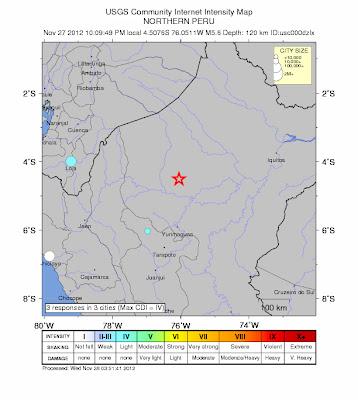Epicentro sismo 5,6 grados, perú, 28 de Noviembre 2012