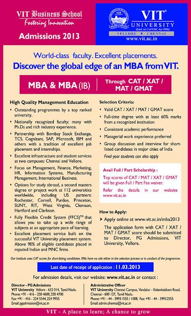 VIT MBA Admission 2013, www.vit.ac.in