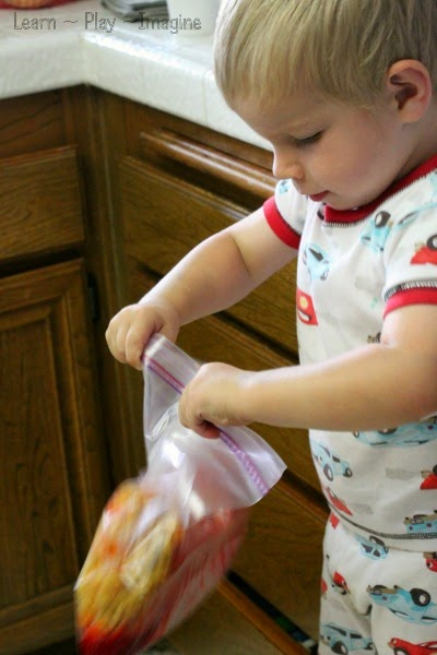 Dyeing pasta for sensory play