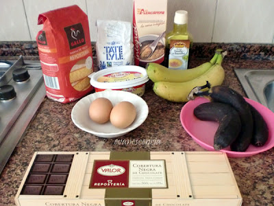 ingredientes brownie de platano