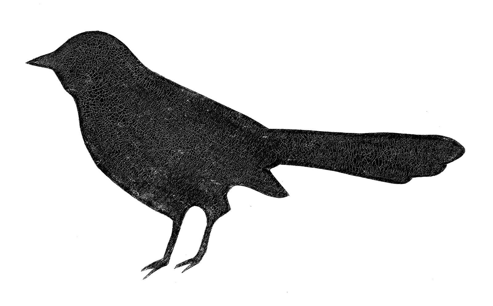 Crackle black bird clip art
