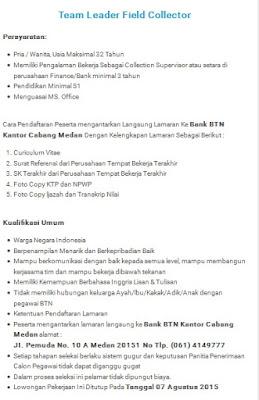 Lowongan kerja resmi Bank BTN