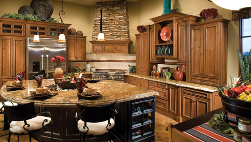 Westland Solid in Rustic Alder pairs with stone accents and Southwest decor.