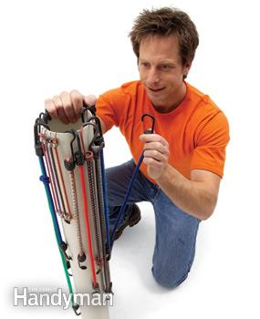 Bungie cord organizer with PVC pipe ::OrganizingMadeFun.com
