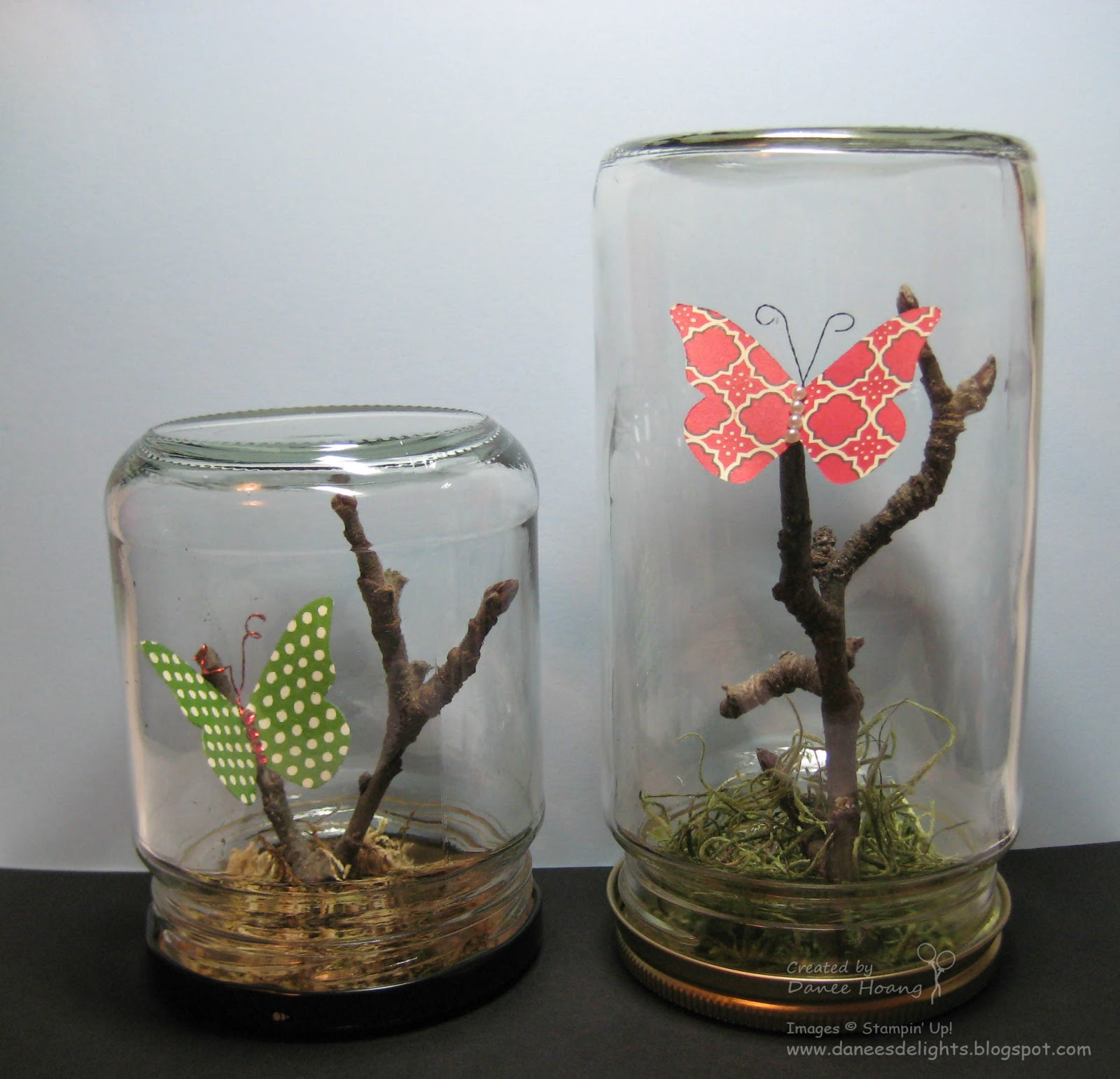 danee 39 s stampin 39 delights upcycled glass jars butterfly. Black Bedroom Furniture Sets. Home Design Ideas