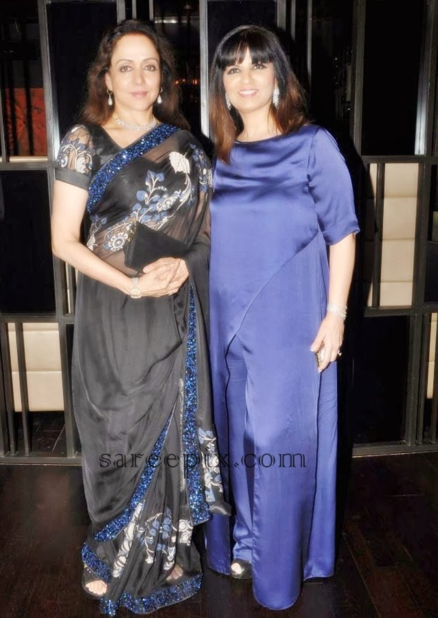 Hema malini in balck transparent saree