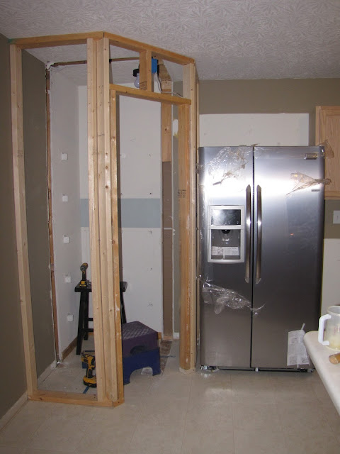 Add A Pantry To A Small Kitchen Image He Also Installed Drywall And Hung New Stock Cabinets