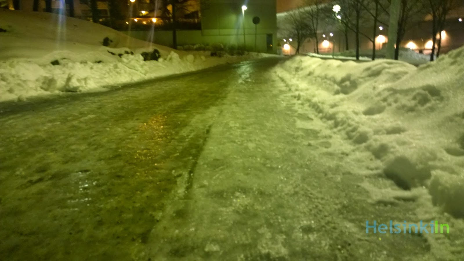 frozen over street in Helsinki