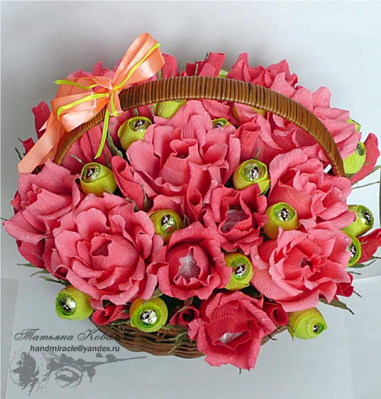 Розы из конфет и ткани своими руками 23