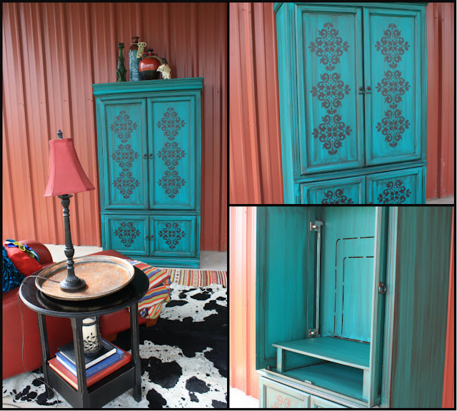 hand painted turquoise armoire makeover