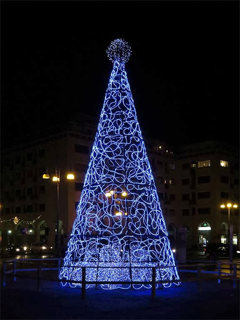 Christmas tree of light, piazza Grande, Livorno