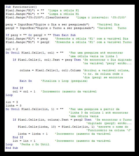 Códigos, Excel, Planilhas