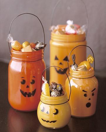 Calabazas con frascos reciclados (Halloween)