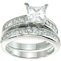Princess Cut Cubic Zirconia CZ Wedding and Engagement Ring