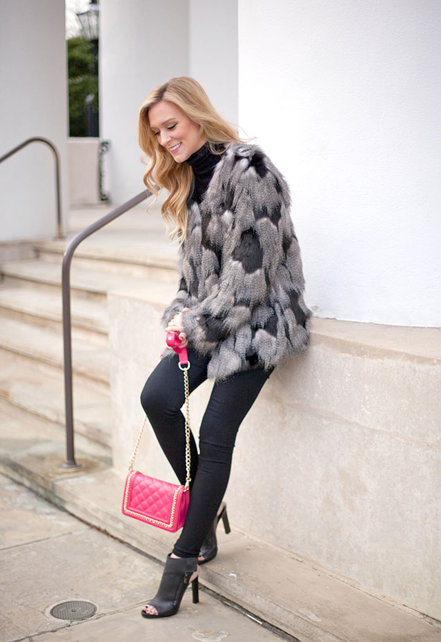 faux fur and hot pink