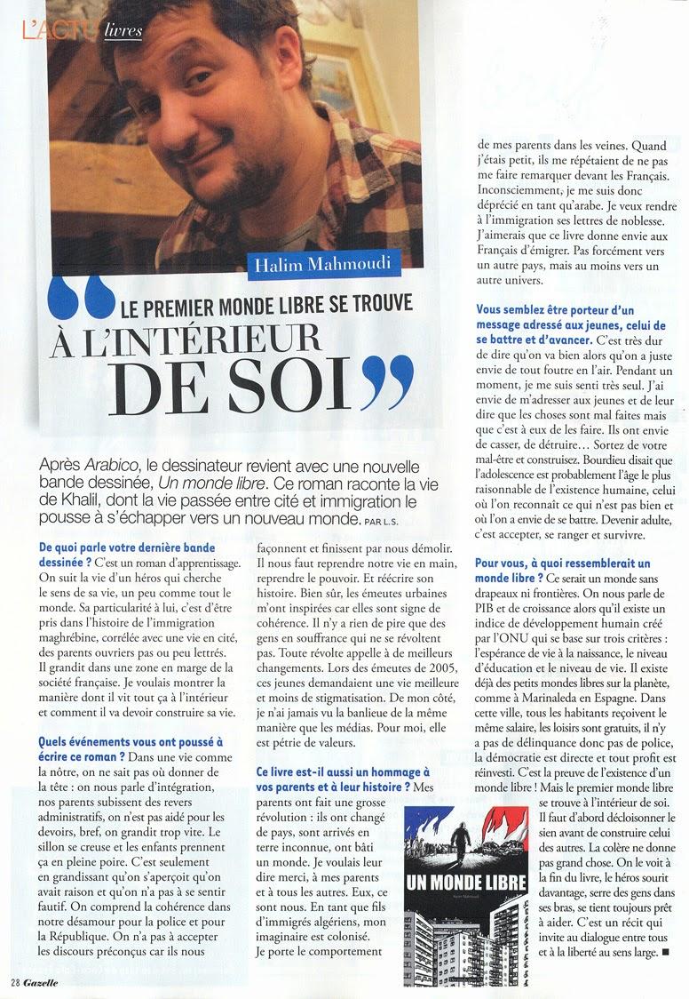 Lire l'article : Le premier monde libre se trouve à l'intérieur de soi (Gazelle mai-juin 2014)