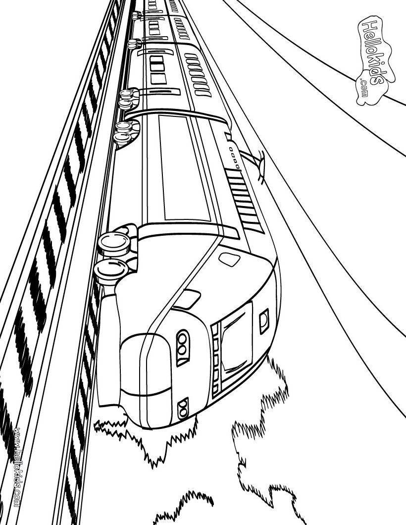 Coloring Pages Trains : Transportation train printable coloring sheet