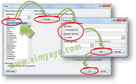 Gambar: Cara melakukan melakukan perhitungan penjumlahan (total) nilai dari cell di tabel Microsoft Word