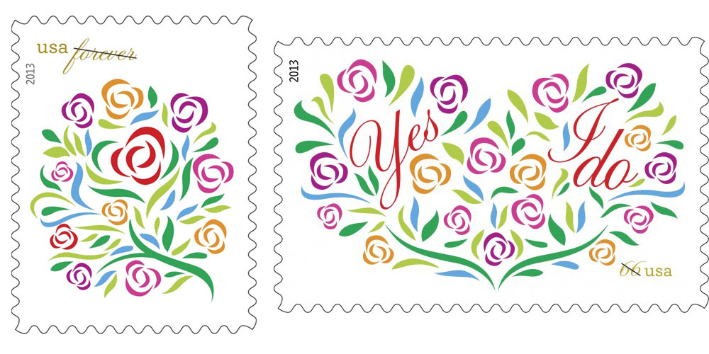 Moving beauty usps releases new spring wedding stamps for Which side does a stamp go on