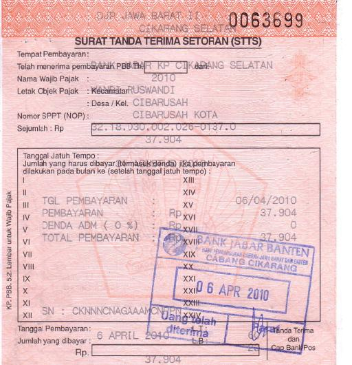 Akuntansi Yeeahh D Bukti Transaksi Tanda Terima Setoran Pembayaran Pbb