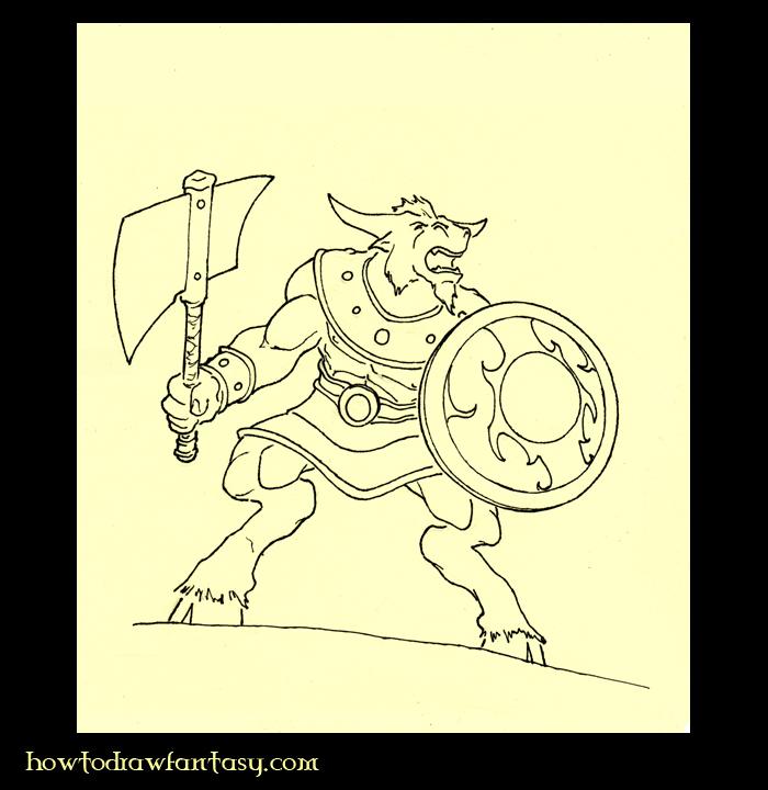 De La Mitolog  A Griega Aprender A Dibujar Un Minotauro Paso 4