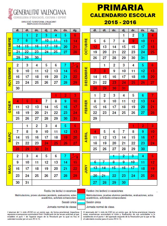 Calendario escolar PRIMARIA 2015 - 2016