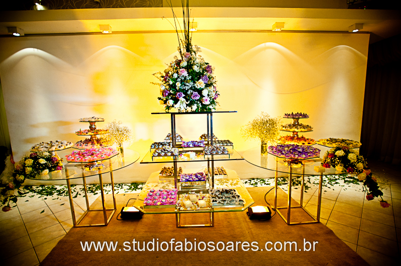 Mimo Forminhas Mesa decorada Lilás, salmão, rosa, champagne e
