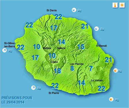 Prévisions météo Réunion pour le Mardi 29/04/14