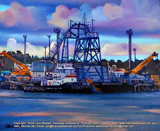 oil painting  of tug and barge at Glebe Island wharf by artist Jane Bennett