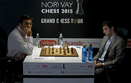 Maxime Vachier-Lagrave pas content de sa position contre Anand - Photo © site officiel