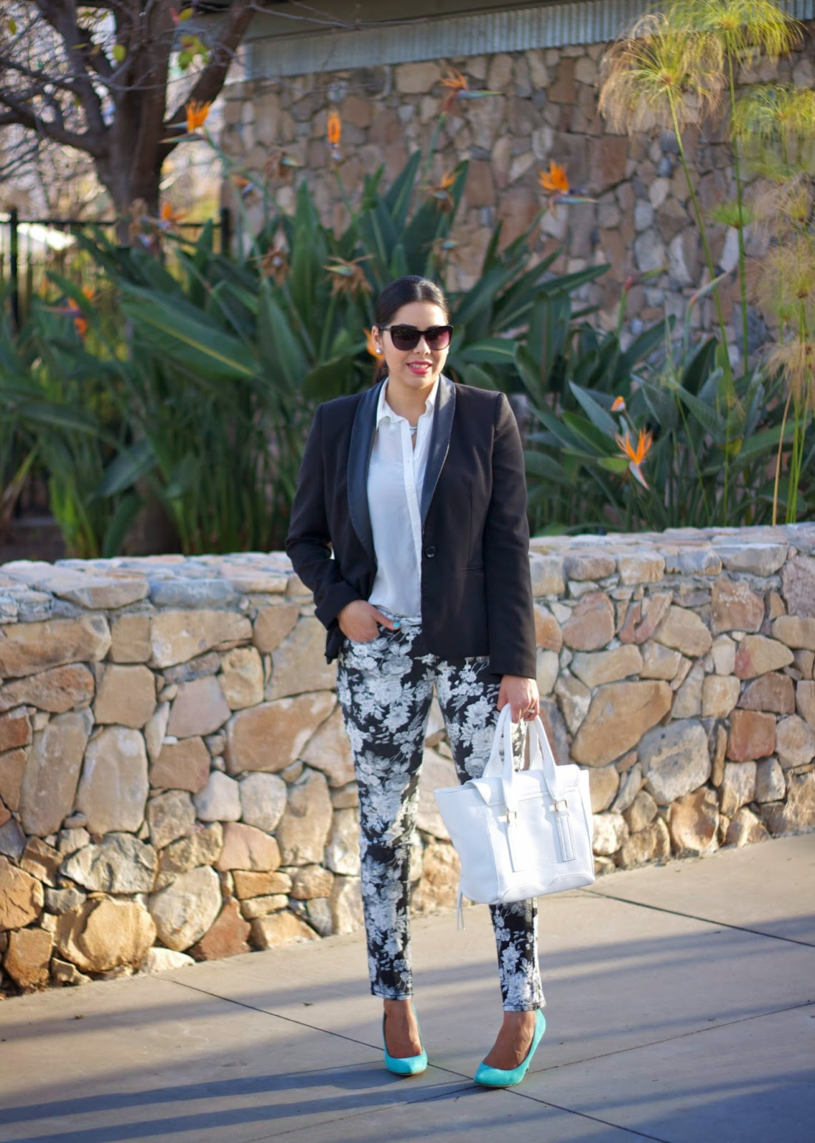 Black and White Floral Pant with Mint Heels, San Diego Spring Outfit