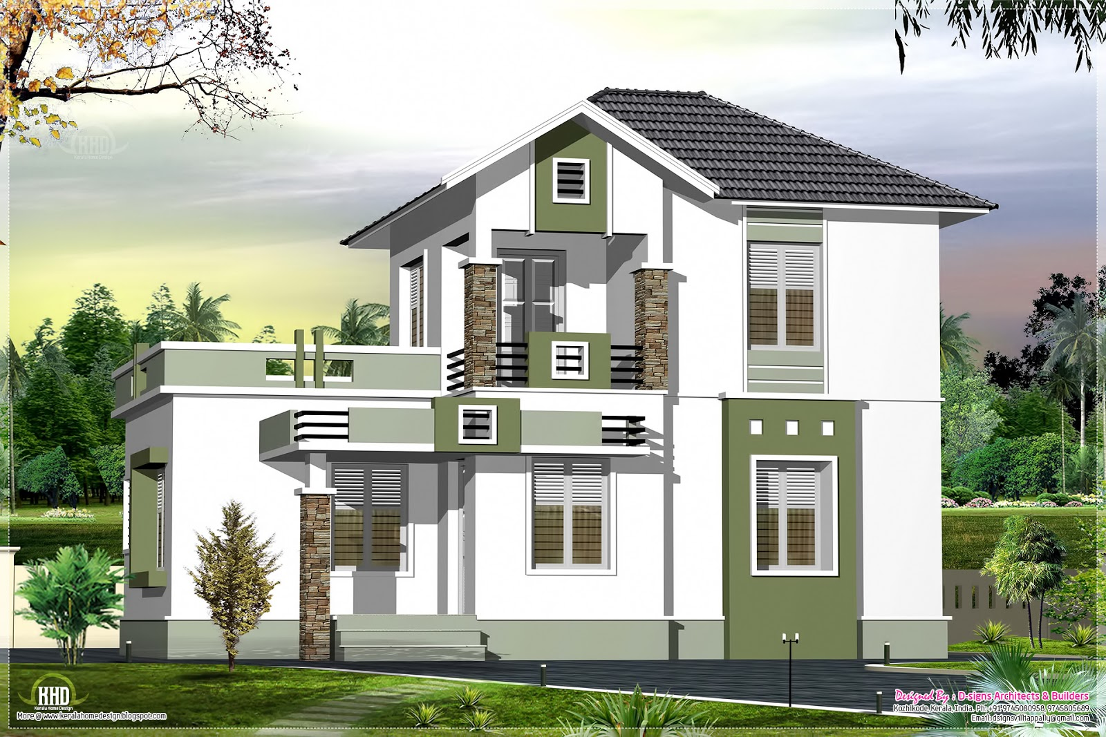 Small double floor home design in 1200 kerala for Home designs small