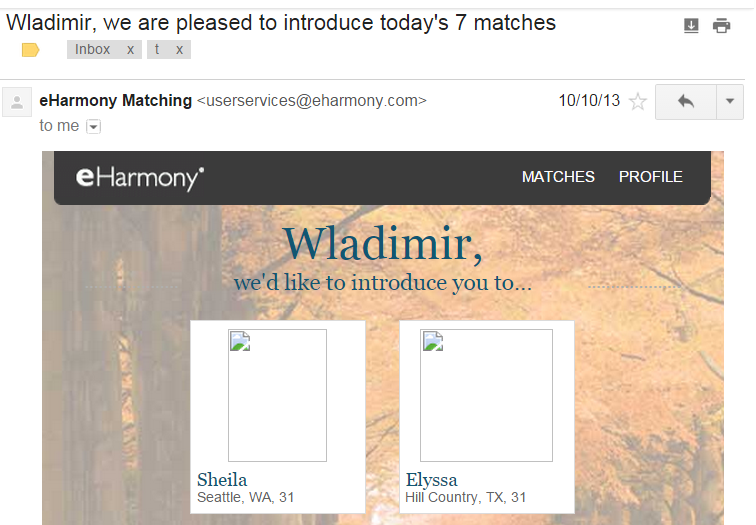 Eharmony matched email to Wladimir and Elyssa