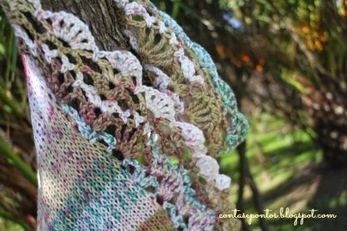 Xaile matizado em tricot e crochet