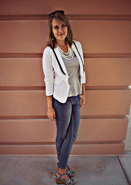 op jeans gray peplum and white blazer