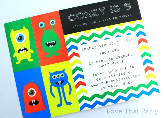 Little Monster Party Invitation - Red