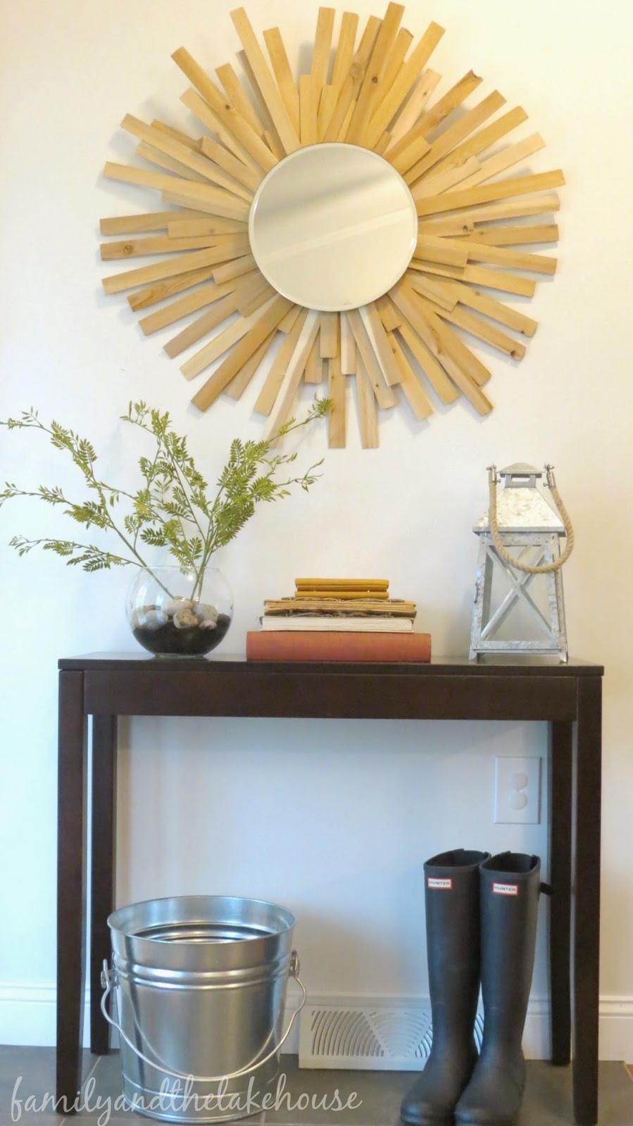 Family and the Lake House - Cedar Shim Sunburst Mirror